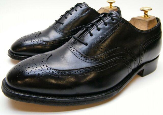 JOHNSTON MURPHY CROWN ARISTOCRAFT BLACK LEATHER WINGTIP OXFORD DRESS SHOES 9 EEE