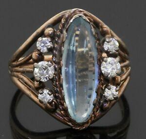 Antique 14K gold 2.94CTW VS diamond/15 X 5.25mm aquamarine cocktail ring