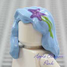 NEW Lego Female Girl Minifig Light BLUE HAIR -Mermaid Long Head Gear w/Star Fish