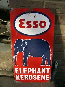 ESSO-ELEPHANT-BRAND-LAMP-OIL-KEROSENE-ENAMEL-PICTURE-ADVERTISING-SIGN-PETROLEUM