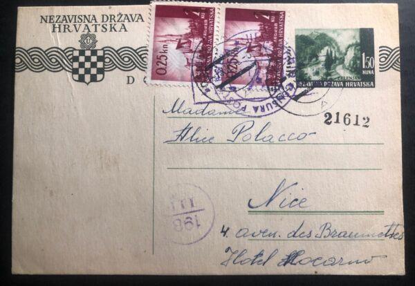 1942 Osijek Croatie Allemagne état Papeterie Carte Postale Couverture à Nice France