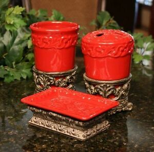 red bathroom accessory set by drake design new ebay