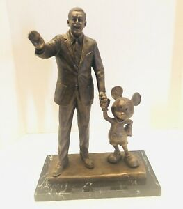 RARE-Walt-Disney-amp-Mickey-PARTNERS-14-5-Bronze-Signed-Statue-By-Blaine-Gibson
