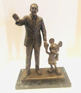 "RARE Walt Disney & Mickey PARTNERS 14.5"" Bronze Signed Statue By Blaine Gibson"