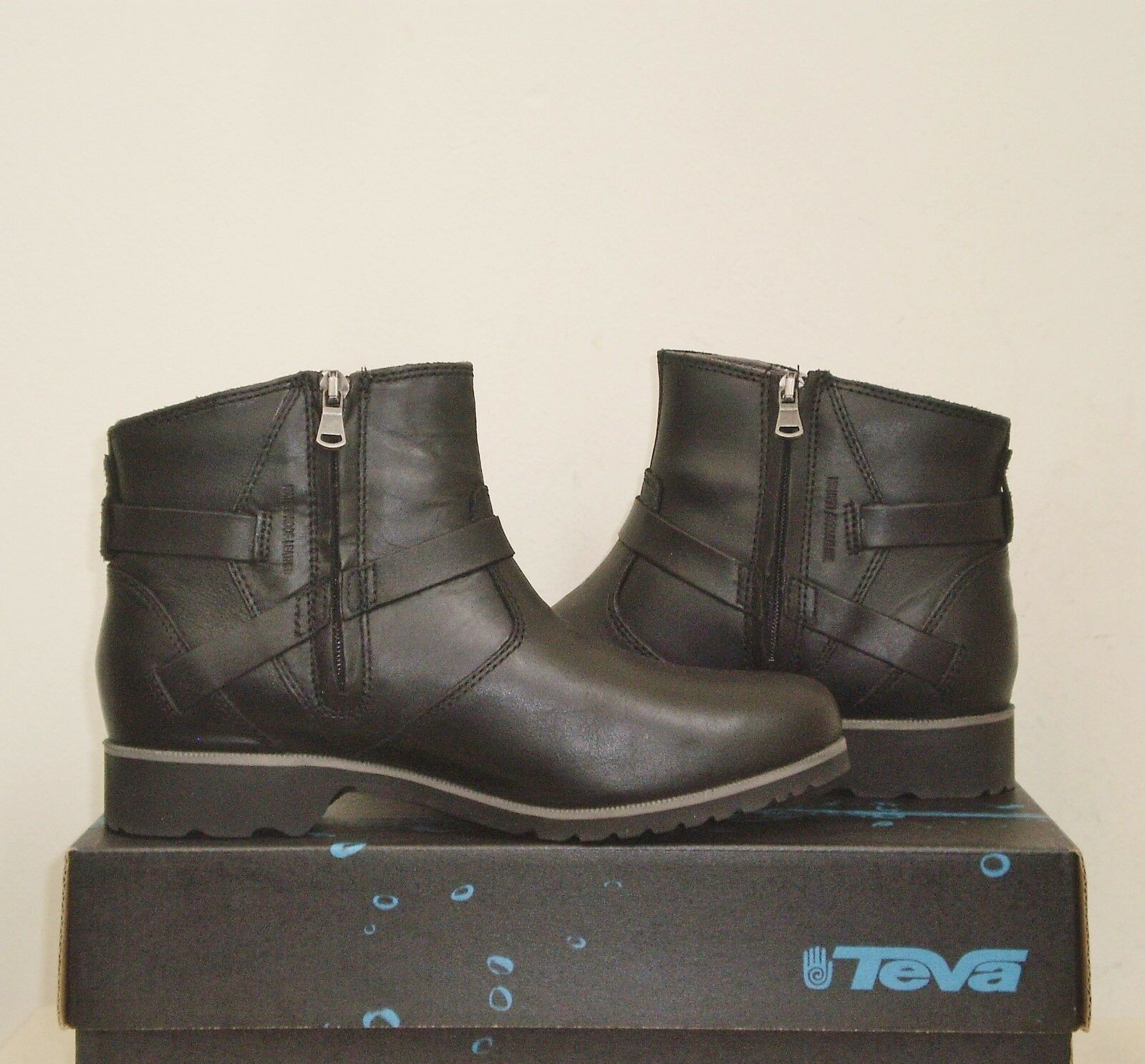 Teva DE LA VINA ANKLE Boots BLACK Waterproof MSRP Leather 7US NWOB 120 MSRP Waterproof 58b458
