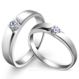 2Pcs Silver Plated Lover Couple Ring Band Her And His Wedding Promise Ring Set