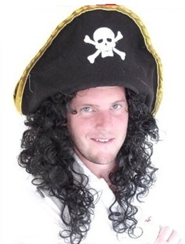 "/""Pirate Wig/"" Men/'s Long Black Curly Fancy Dress Wig Hat not included"