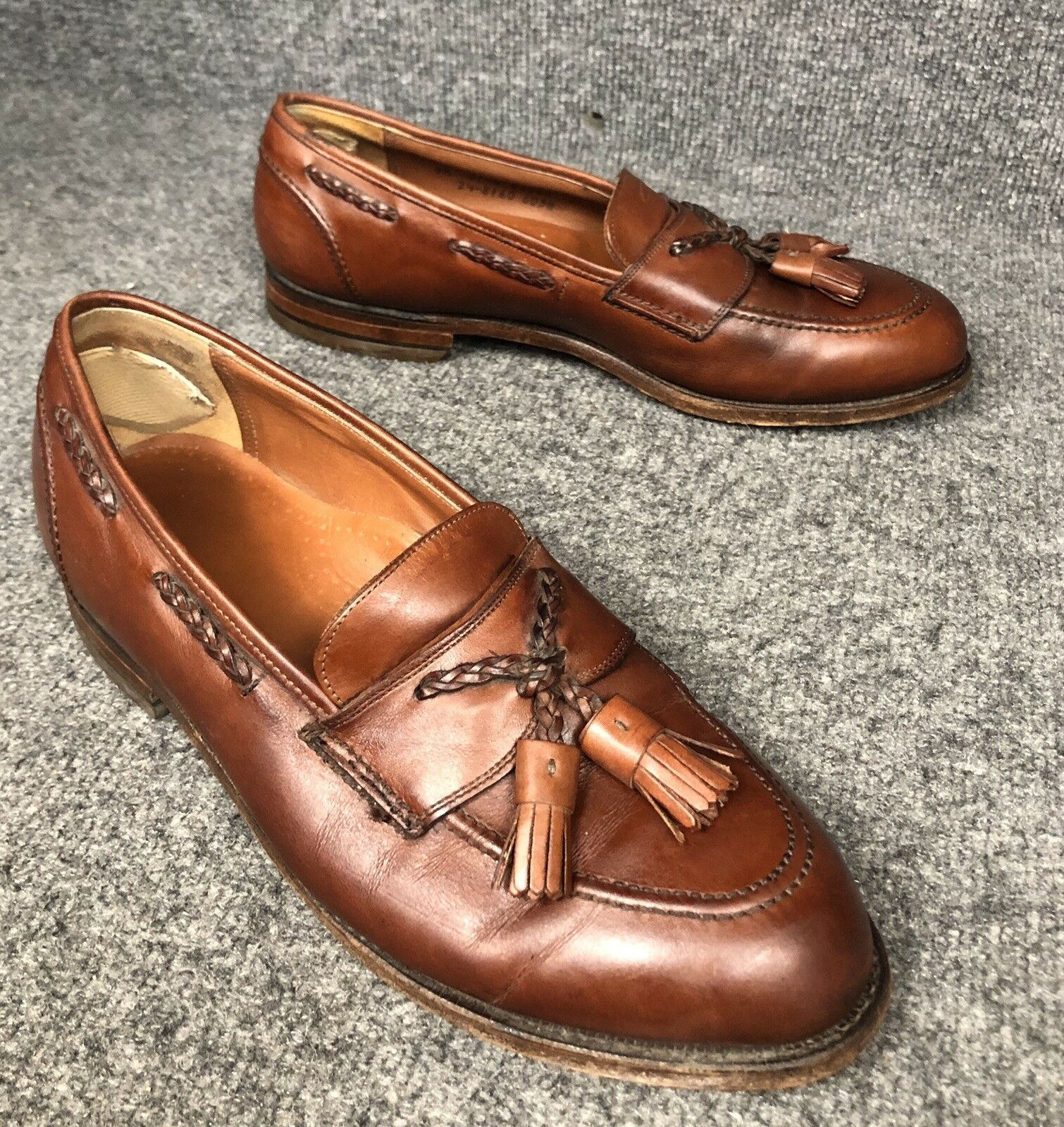 Johnston & Murphy Crown Aristocraft Brown Leather Tassel Loafers Sz 9.5 E In E