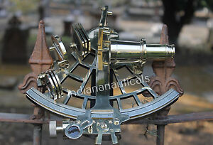 "VINTAGE MARITME HEAVY BRASS SEXTANT 9"" SHIP NAVIGATION REPRODUCTION GITF DECOR."