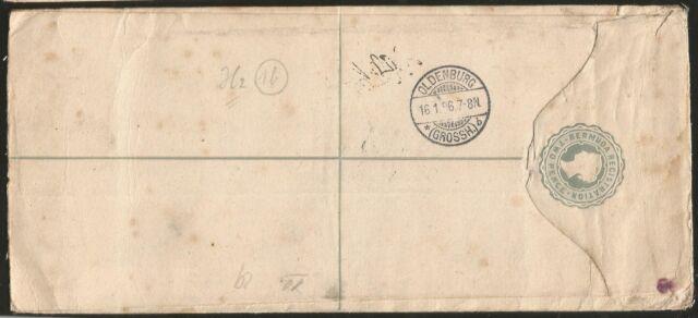 BERMUDA ISLANDS REGISTERED TO OLDENBURG GERMANY QUEEN VICTORIA 1896 EINSCHREIBEN