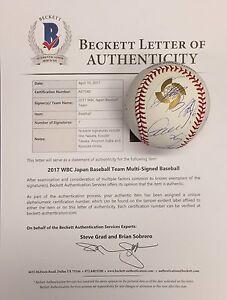 Sho Nakata Kosuke Tanaka Atsunori Inaba R. Hirata Signed 2017 WBC Baseball BAS