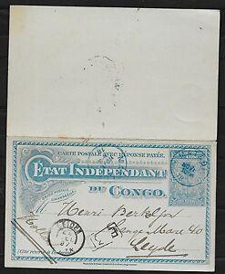 Belgian Congo covers 1897 DoubleCard MATADI to Leiden
