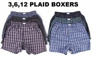 New-3-12-Mens-Boxer-Check-Plaid-Shorts-Trunk-Underwear-Cotton-Briefs-Size-S-4XL