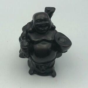 "3"" Vintage Happy Laughing Buddha Figurine Wealth Prosperity Stature G2"