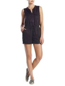 Lucky-Brand-Washed-Black-Romper-100-Tencel-Sleeveless-Pockets-Cinch-99-Women-M