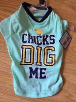 Simply Wag Aqua T-shirt chicks Dig Me Puppy/dog Medium