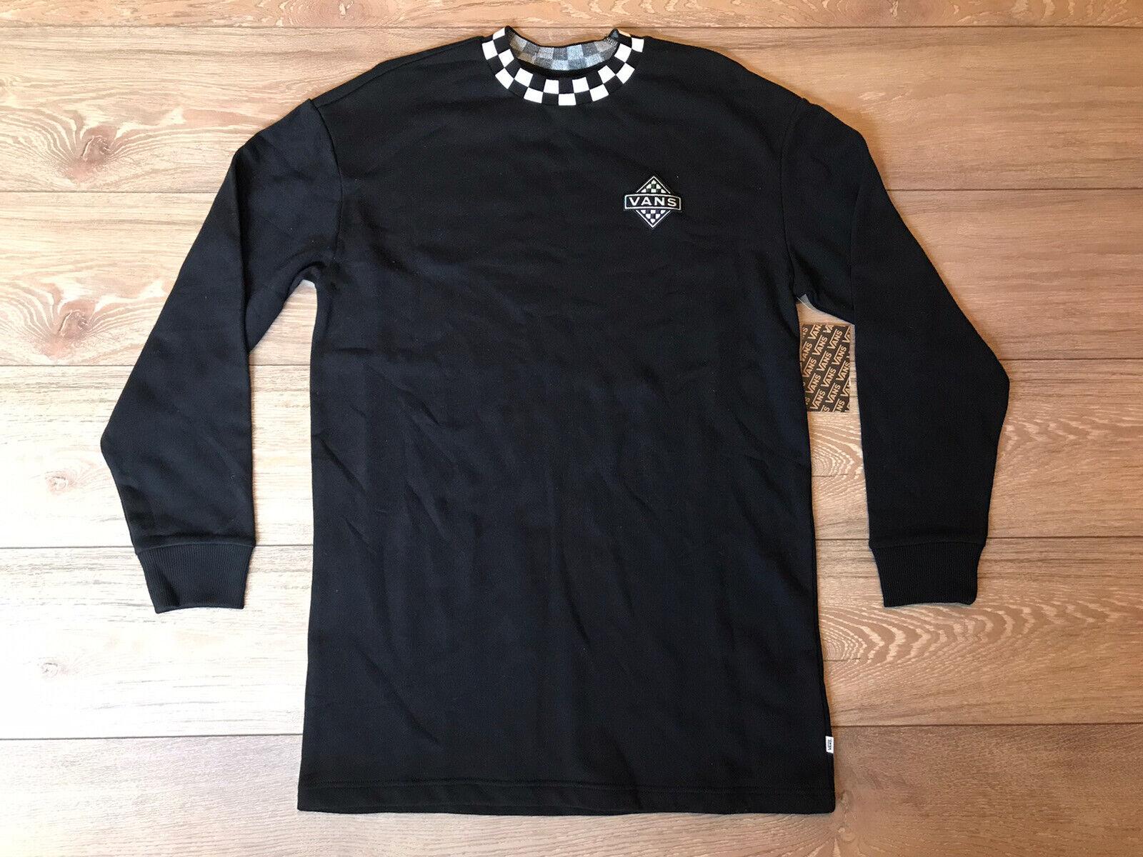 VANS Sonic Boom Sweatshirt Dress Crew Black White Womens SZ S (VN0A53KTBLK) NWT!