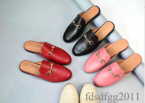 mens-slip-on-horsebit-backless-slippers-Real-Leather-loafers-shoes-US5-5-11-5