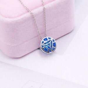 Iron-Man-Arc-Reactor-Blue-Pendant-925-Silver-Necklace-Couple-Lovers-Cos-Gift