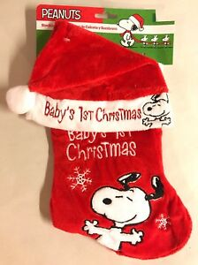 4e75e882dbb1 Peanuts Snoopy Baby s First Christmas Stocking Holiday Red Hat Gift ...