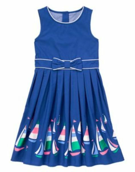 Gymboree Girls Dress Sailboat Races Blue Bow Stripe and Anchor 5 NEW