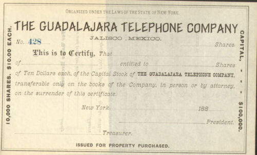 The Guadalajara Telephone Company /> 188/_ Jalisco Mexico stock certificate