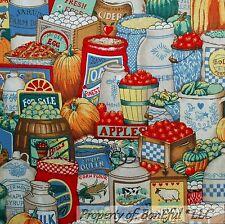 BonEful Fabric FQ Cotton Quilt VTG Pumpkin Farm EGG Basket Market Red Apple Pie