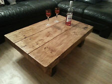 Chunky Rustic Reclaimed Style Coffee Table Handmade Solid Wood Dark