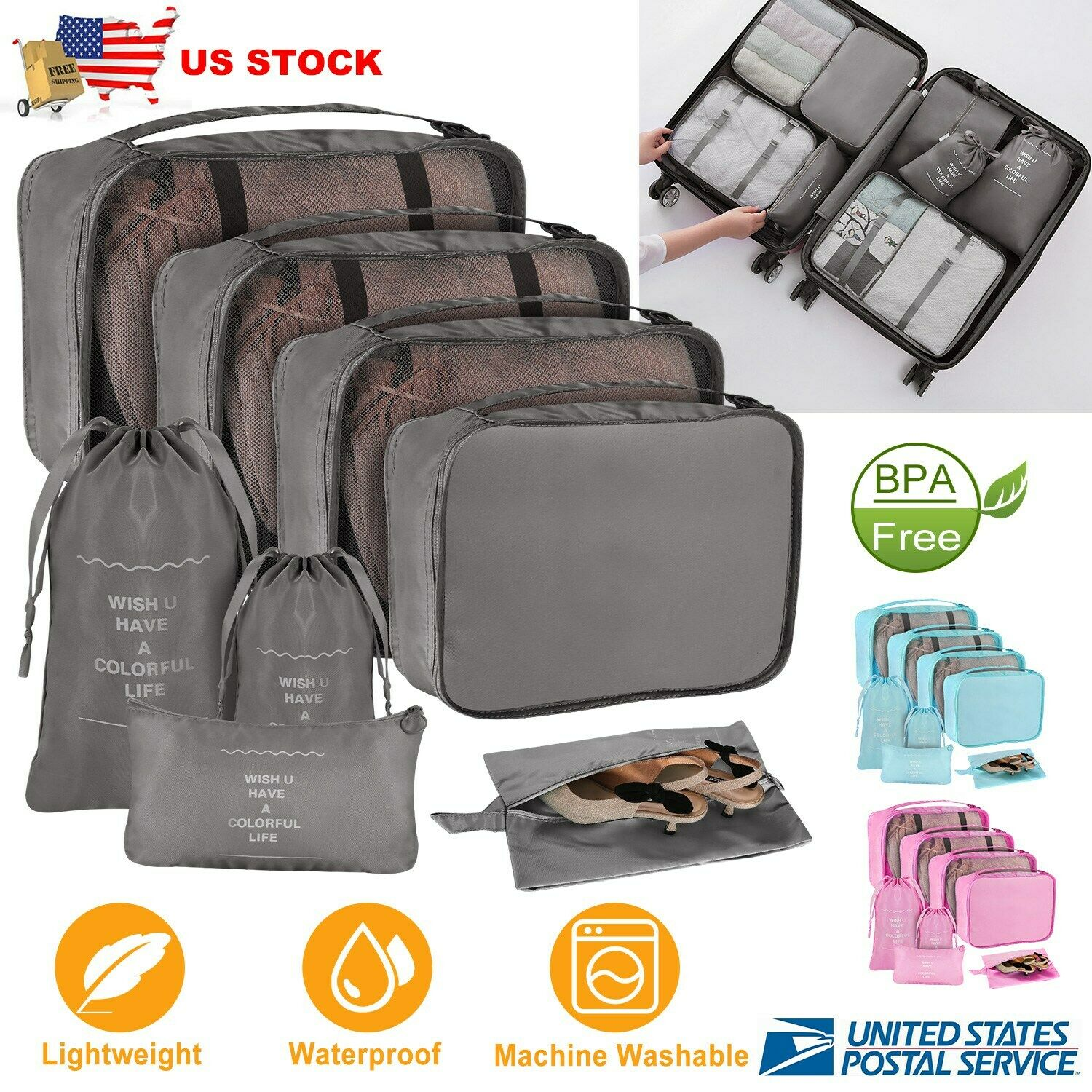 8pcs Travel Clothes Storage Bags Luggage Organizer Pouch Packing Cube ... - s l1600