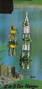2 & 3 Tier Hanging Plant Holder Patterns #DC02 Macrame Unlimited Craft Book