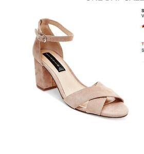 2c8d5368106 Details about NIB 7.5 Blush Suede Steve Madden Voome Low Block Heel Sandals  Criss Cross New