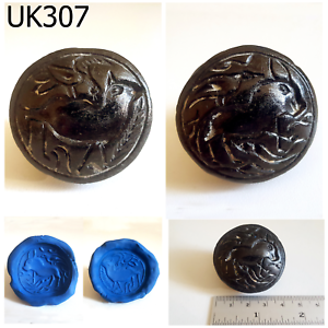 Near Eastern Antiques Huge Old Bactrian 2 Side Intaglio Animals Black Stone Coin Bead #uk307a Possessing Chinese Flavors