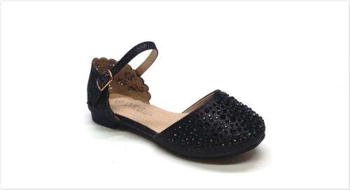 Brand New Girl/'s Fashion Laser Cut Rhinestone Dress Shoes Size 9-4