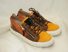 48ed1f204853 Giuseppe Zanotti Double Zip Low Top Tri Tone Suede Leather Shoes Sneakers  39.5