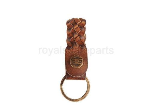 Convient pour Royal Enfield tressé en cuir Keychain marron clair
