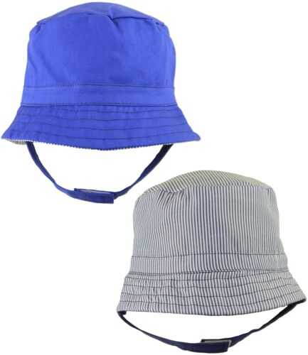 Babyprem Baby Sun Chapeaux Garçons Réversible Bleu Plain /& rayées Chapeau chinstrap 6-18 M