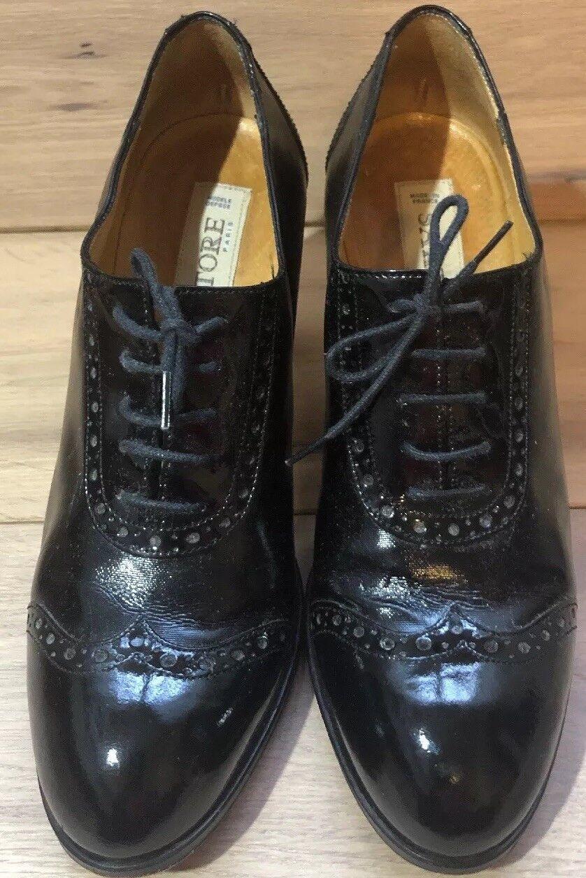 garanzia di qualità Sartore Paris nero nero nero Leather Patent Lace Up Heels Dimensione 39 Made in France  consegna e reso gratuiti