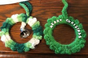 2-Handmade-Crochet-Wreath-Christmas-Ornaments-Great-Scallop-Shape-Vintage