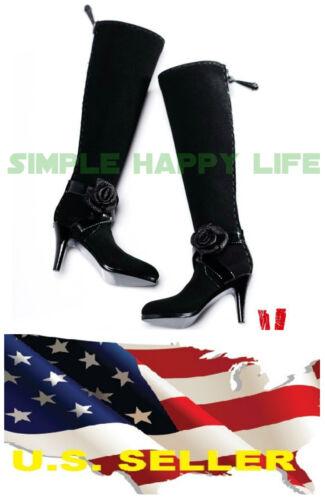 VERYCOOL 1//6 female black fashion high-heel boots flower black widow phicen USA❶