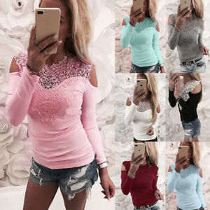 UK-Womens-Cold-Shoulder-Lace-Casual-T-Shirt-Ladies-Long-Sleeve-Tops-Blouse-6-20