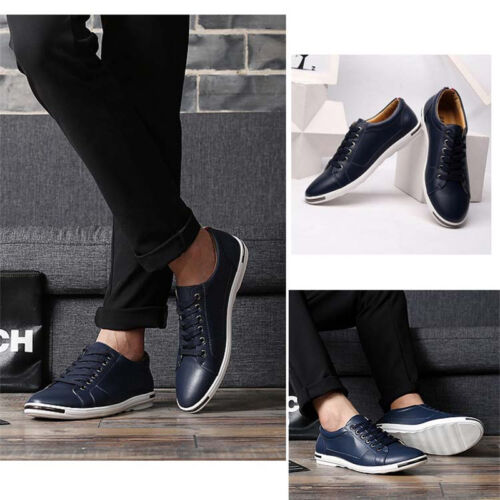 Men/'s Casual Leather Shoes England Oxford Breathable Loafers Lace-up walking New
