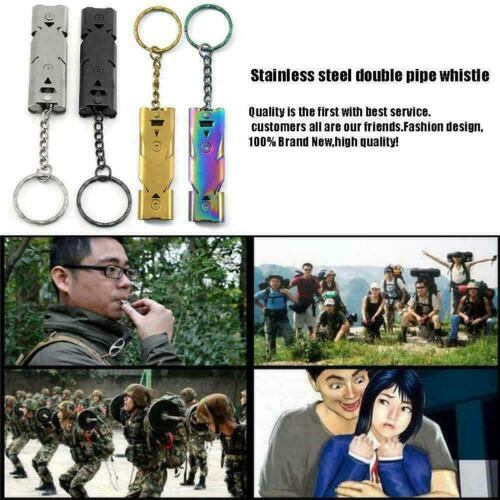 Outdoor EDC Survival Whistle High Decibel Stainless Emergency Steel Tool V8 I4H1