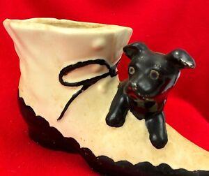 "Vintage Shawnee Pottery Dog On Boot Planter 8.25"" USA - White & Black"