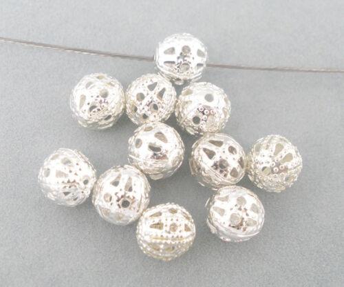 LOT de 60 PERLES RONDES filigranes ajourées 8mm ARGENTE création bijoux