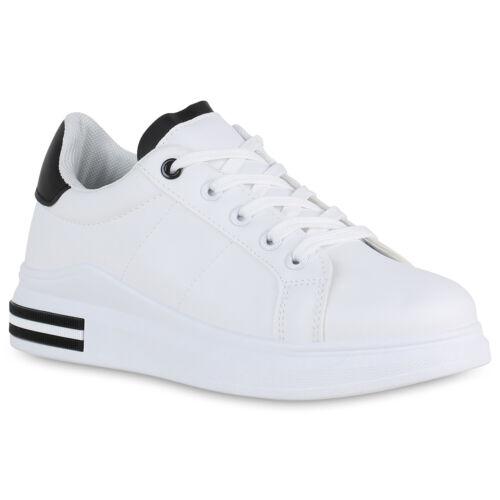 Damen Plateau Sneaker Schnürer Keilabsatz 833488 Schuhe