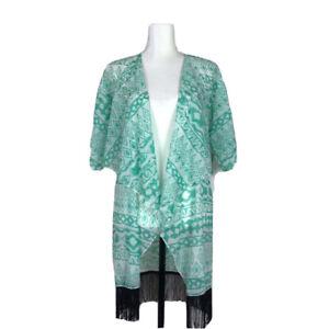 Nuovo-con-etichette-lularoe-MONROE-kimono-donna-Taglia-Small-Verde-con-Frange-Nero