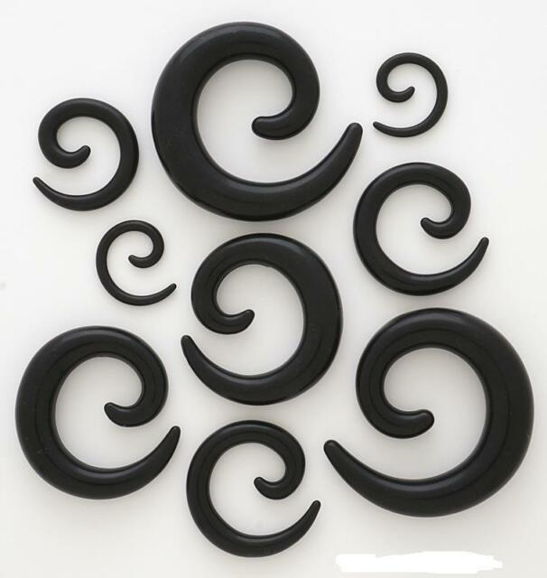 """PAIR 1/2"""" Only Black Soft Flexible Silicone Spiral Ear Plugs Gauges Tapers"""
