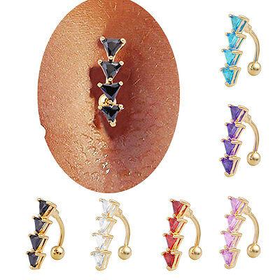 Reverse Black Crystal Rhinestone Bar Belly Ring Gold Body Piercing Button Navel
