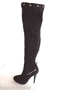 Tigh-High-Stiletto-Boots-Promiscuous-Furge-Black-Part-Zip-Women-8-8-5-Mint