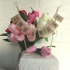 Mr&Mrs Wedding Cake Topper Mini Bunting Banner Topping Shabby Chic Vintage Sweet